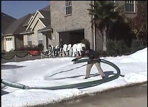 Snow parties are the big rage in texas cue artificial