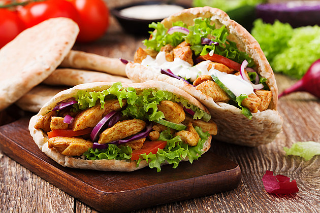 Pita salad with roasted chicken and vegetables.