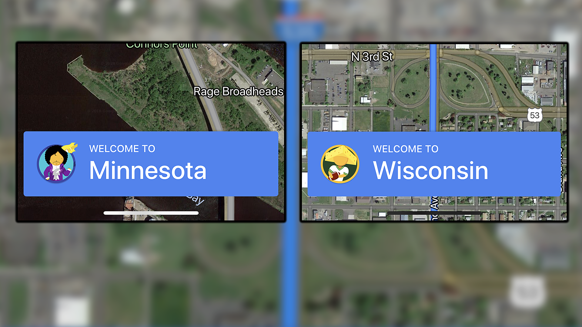 Google Maps Easter Eggs for Crossing Into Minnesota or Wisconsin